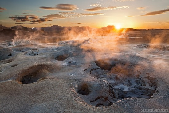 Sunrise in Námafjall Geothermal Area near Mývatn